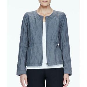 • Eileen Fisher • Rumpled Metallic Zip-Up Jacket